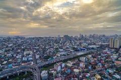 Nightview da skyline da cidade de Manila, Manila, Filipinas Fotos de Stock Royalty Free