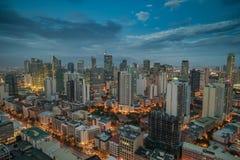 Nightview da skyline da cidade de Manila, Manila, Filipinas Foto de Stock