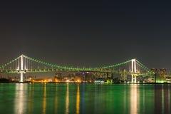 Nightview de pont en arc-en-ciel Image libre de droits