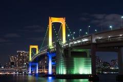 Nightview de pont en arc-en-ciel Photos stock
