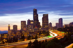 Nightview de Seattle Photo stock