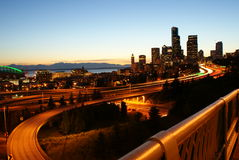 Nightview de Seattle Photographie stock libre de droits