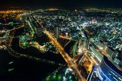 Nightview del área de Minato Mirai de la ciudad de Yokohama Imagen de archivo libre de regalías