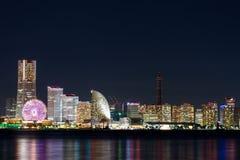 Nightview di area di Minato Mirai Fotografie Stock