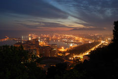 Nightview di Malaga, Spagna Fotografia Stock Libera da Diritti