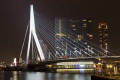 Nightview of the Erasmus Bridge reflected in Nieuwe Maas river in Rotterdam, Netherlands Royalty Free Stock Photo