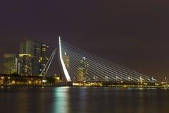 Nightview of the Erasmus Bridge in Rotterdam, Netherlands Stock Image