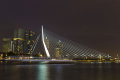 Nightview of Erasmus Bridge in Rotterdam, Netherlands Royalty Free Stock Photography
