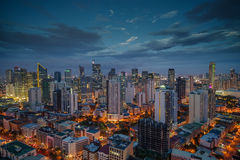 Nightview för Manila stadshorisont, Manila, Filippinerna royaltyfri fotografi