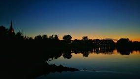 Nightview flodTyskland Arkivfoto