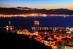 Nightview of Gibraltar and Spanish Algeciras Stock Image