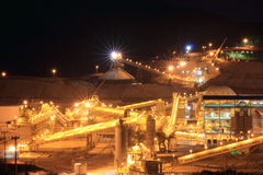 Gold Mine Site. A nightview from a gold mine processing site Stock Photo