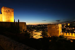 Nightview of Granada from the Alhambra Stock Photography