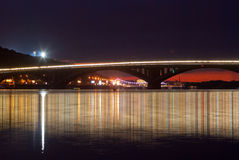 Nightview of Metro bridge reflected in Dniper river, Kiev, Ukraine. Stock Images