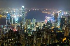 Nightview od Wiktoria szczytu w Hong Kong Obraz Stock