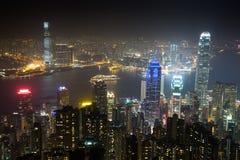 Nightview od Wiktoria szczytu w Hong Kong Zdjęcie Stock