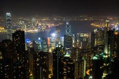 Nightview od Wiktoria szczytu w Hong Kong Zdjęcia Royalty Free
