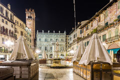 Nightview of Piazza delle Erbe in Verona Royalty Free Stock Photo
