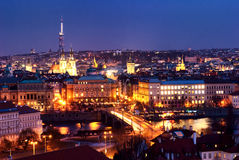Nightview of Prague dusk, from top Stock Photography