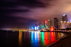 Nightview of Qingdao Skyline at night. Nightview of the coastline and skyscrapers from the International Marina, Qingdao, China Stock Image