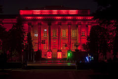 Nightview of the Red building of National Schevchenko University, Kiev, Ukraine. Stock Photo