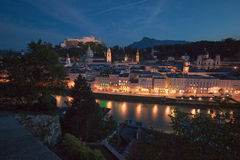 Nightview at Salzburg Stock Photography