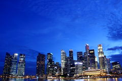 Singapore cbd night skyline. Nightview of singapore cbd around singapore river Royalty Free Stock Images