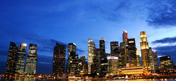 Night skyline of singapore cbd Stock Photos
