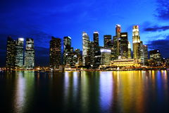 Night skyline of singapore cbd Stock Photo
