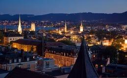 Nightview sopra Zurigo Immagini Stock