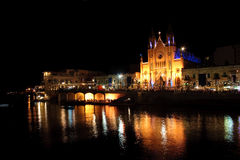 Nightview of St Julians bay. Nightview of St Julians Church in St Julians bay, Malta Royalty Free Stock Photos