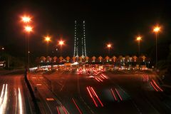 Nightview on toll road Stock Images