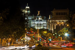 Nightview van Plaza DE Cibeles in Madrid Stock Foto