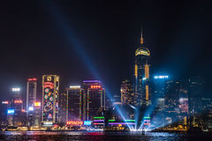 Nightview of Victoria Horbour in Hong Kong Stock Photo