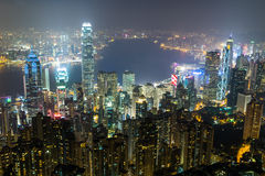 Nightview from Victoria Peak in Hong Kong Stock Image