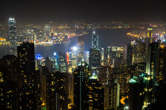 Nightview from Victoria Peak in Hong Kong Royalty Free Stock Photos