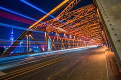 Nightview of the Waibaidu Bridge in Shanghai Stock Photos