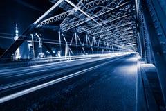 Nightview of the Waibaidu Bridge in Shanghai Stock Photography