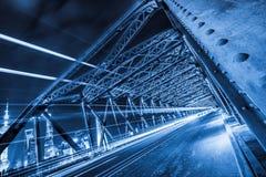 Nightview of the Waibaidu Bridge in Shanghai Royalty Free Stock Photo