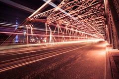 Nightview of the Waibaidu Bridge in Shanghai Stock Images