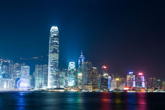 Nightview Wiktoria Horbour w Hong Kong Fotografia Royalty Free