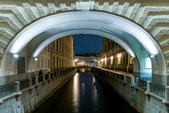 Nightview of Winter Canal Royalty Free Stock Photography
