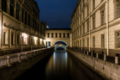 Nightview of Winter Canal Royalty Free Stock Images