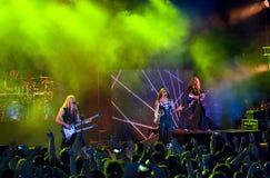 Nightwish finlandssvensk musikband på etapp Arkivfoto