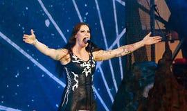 Nightwish finlandssvensk musikband på etapp Arkivfoton