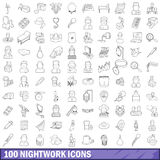 100 nightwork icons set, outline style Stock Images