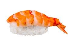 Nigiri寿司用在白色背景隔绝的虾 免版税库存照片