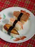 Nigiri d'ebi de sushi et sushi assortis d'unagi Image libre de droits