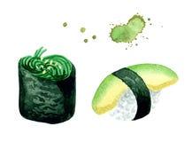 Nigiri de la acuarela y maki gunkan con chuka y el aguacate de las algas stock de ilustración