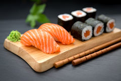 Nigiri and Gunkan Sushi Traditional Japanese Food Royalty Free Stock Image